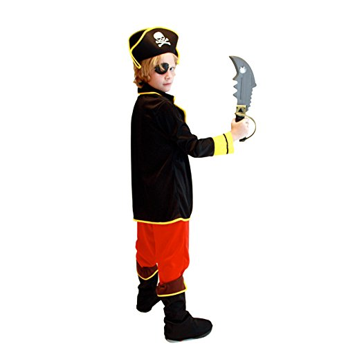 Pretty Princess Pirate Boys Captain Costume Set Fancy Dress Halloween Costume with Hat, Eyepatch and belt.