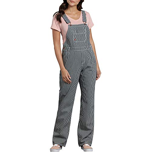 Dickies Women's Bib Overall 100% Cotton Denim with ScuffGard, Rinsed Hickory Stripe, Large