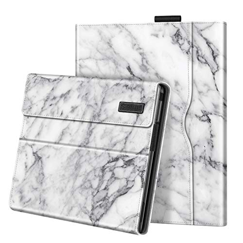 Fintie Case for Microsoft Surface Pro X - Multiple Angle Viewing Portfolio Business Cover with Pocket for 13 Inch New Surface Pro X 2019 Release, Compatible w/Type Cover Keyboard (Marble White)