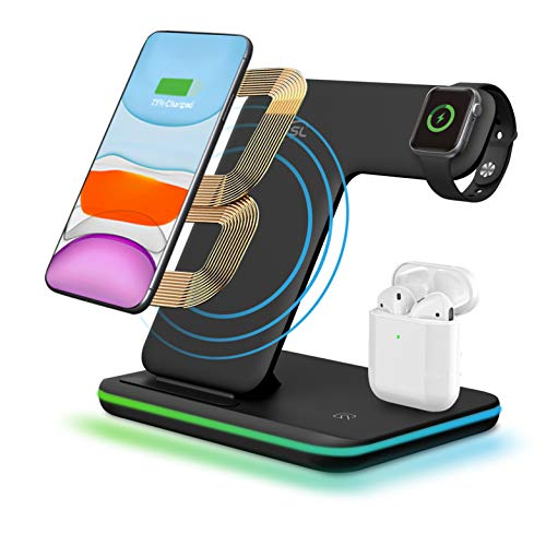 3 in 1 Wireless Charging Dock,CNSL 15W Fast Wireless Charge Stand,Touch Sensor LED Light Charger Station for Airpods/Airdots/iWatch,iPhone X/XS/XR/Max/8/8 Plus and Other Qi-Enabled Phones(Black)