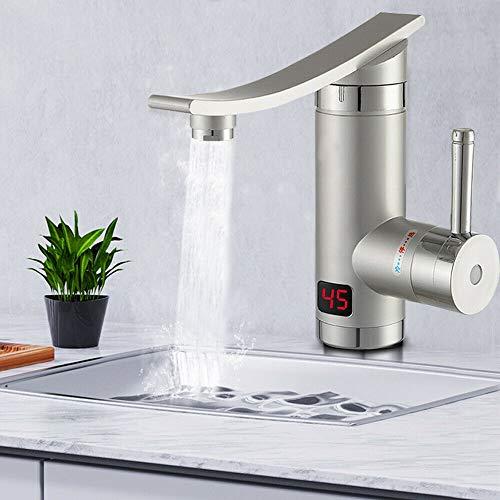OUKANING 3KW Wasserhahn Schnell Heizung Wasserfall Elektrische Durchlauferhitzer für Küche Badezimmer, 360° Drehbar