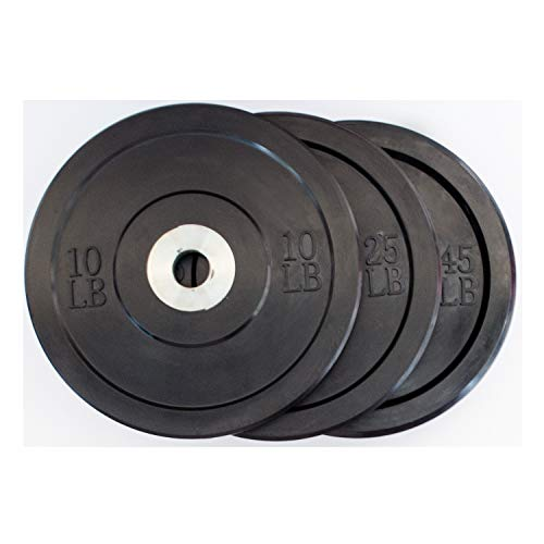 LifeSport Rubber Coated Olympic Plates (45lb, Individual Black Bumper Plate)