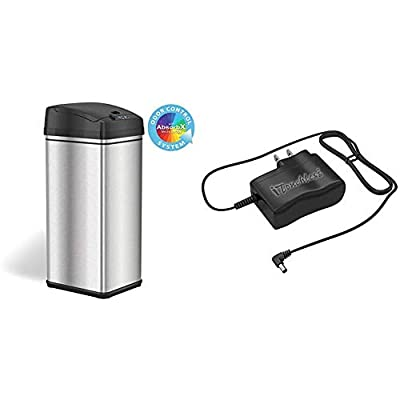 iTouchless 13 Gallon Stainless Steel Automatic Trash Can with Odor-Absorbing Filter and Lid Lock & AC Power Adapter for Automatic Sensor Trash Cans, Official and Manufacturer Certified, UL Listed