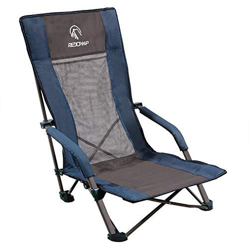 REDCAMP Strandstuhl Sandy, Klappbar Leicht Sonnenliege, Faltbar Klappstuhl mit Extra Hoher Rückenlehne für Angeln Garten Camping Strand, Traglast bis 136 kg