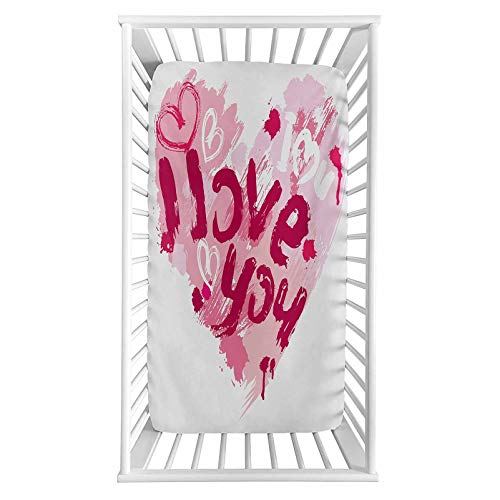 """I Love You Fitted Crib Sheet,Paintbrush Valentines Message Best Friends Forever February Wedding Engaged Microfiber Silky Soft Toddler Mattress Sheet Fitted,28""""x 52""""x 8'' for Boys Girls"""