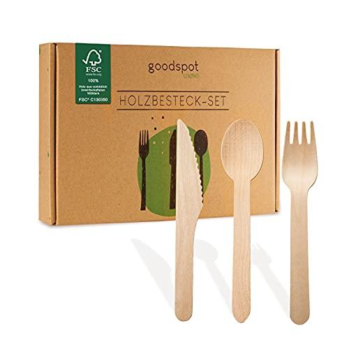 goodspot® Premium Holzbesteck Set 200-teilig FSC-zertifiziert (100 Holzgabeln, 50 Holzlöffel, 50 Holzmesser Holz Besteck ) Einwegbesteck kompostierbar in wiederverschließbarer Pappbox