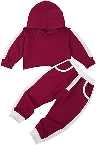 Niño bebé niño niña Sudaderas con Capucha chándales Color sólido Sudadera con Capucha suéter Pantalones Largos chándal 2 Piezas Conjunto de Trajes (Wine Red,12-18 Meses)