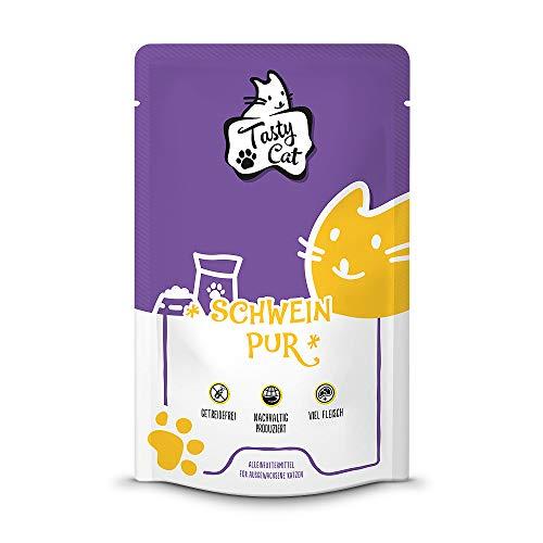 Tasty Cat Nassfutter für Katzen Schwein PUR 12 x 125g. | getreidefrei | zuckerfrei | Monoprotein