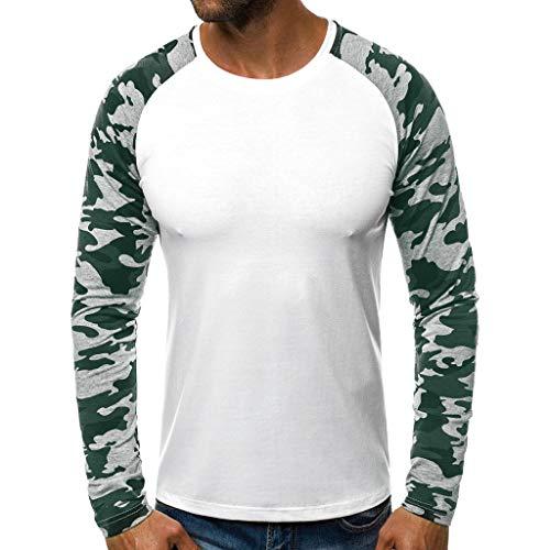 Shinehua T-shirt met lange mouwen voor heren, ronde hals, slim fit, lange mouwen