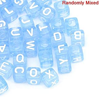 450 Acrylic Letter Beads Blue with White Letters 6mm or 1/4 Inch with 3.4mm Hole Randomly Mixed Letter Beads