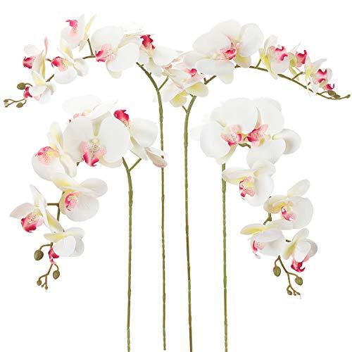 RERXN Packung mit 4 Stück Künstliche Phalaenopsis Orchideen Blüten 9 Köpfe Schmetterlingsorchidee Blüten für die Inneneinrichtung (White 02)