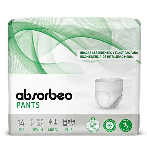 Absorbeo - Pants Plus - Bragas Absorbentes y Elásticas para Incontinencia  de Intensidad Media, Unisex, Talla M (14 piezas por paquete)