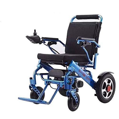 FTFTO Wohnaccessoires Kompakter und Leichter Elektrorollstuhl für ältere Menschen mit Joystick für Erwachsene Blau