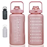 100oz Large Motivational Water Bottle with Time Marker, Leakproof & BPA Free 0.8 Gallon Big Water Bottle with Straw & Handle Tritan Frosted Water Jug for Women Men to Fitness, Gym, Outdoor Sports