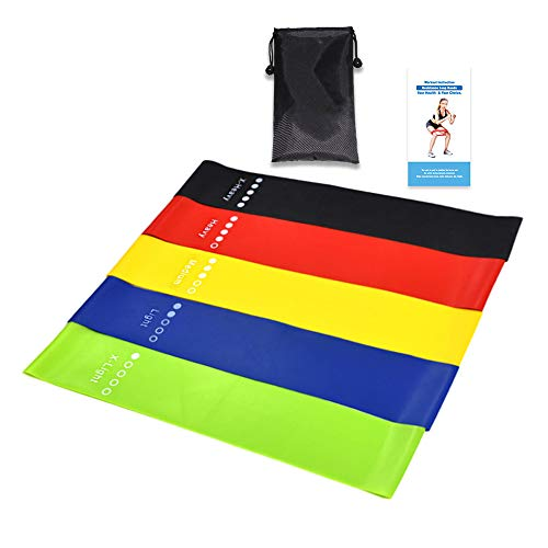 Buy Natural Latex Tension Band (5 Simplified Leg Exercise Bands) Set, Suitable For Training Pilates ...