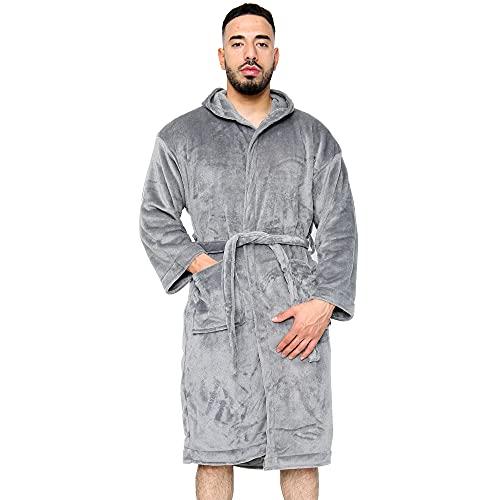 HANSON AND LANGFORD Albornoz mullido para hombre del Reino Unido – Albornoces de forro polar con capucha para hombre invierno cálido bata ligera bata de baño, toalla de spa, gimnasio, ducha
