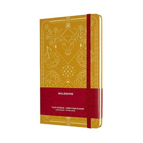 Moleskine LECNYOXQP062 Cuaderno Edición Limitada del Año Nuevo Chino, Tema Año del Buey, Tapa Dura y Páginas Rayadas, Tamaño Grande A5 de 13 x 21 cm, Color Dorado, 240 Páginas