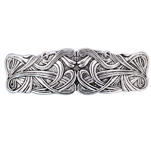 Colaxi Vintage Celtic Knot Barrette North Vikings Hair Clip Headdress Hair Jewelry for - Silver, as described