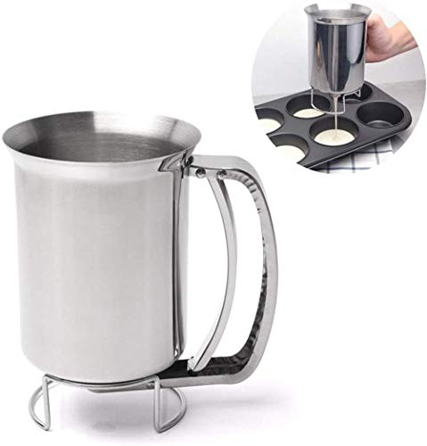 Hand-held Cake Pancake Batter Dispenser, Foyute Stainless Steel Professional Batter Funnel Kitchen Tool for Smooth Distribution for Baking Cake Cupakes Pancakes