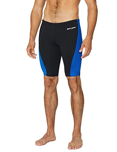 BALEAF Men's Athletic Durable Training Polyester Jammer Swimsuit Black/Blue 38