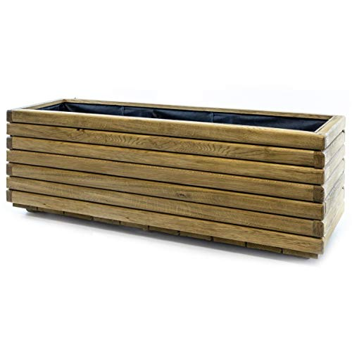 HolzFee Pflanzkasten Akzent 120 x 40 x 40 cm Eiche Holz Hochbeet