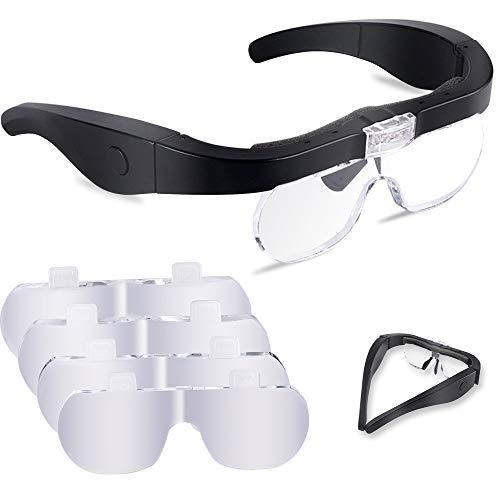 Lupenbrille mit Licht, 1.5X bis 5X abnehmbare Linsen-Kopfband Lupe Lampe Headset Kopflupe Stirnlupe Brillenlupe mit 2 LED Licht Hobby, Elektriker, Juweliere, Nähen, Handwerk und ältere Menschen