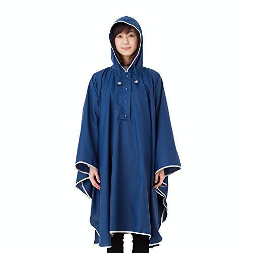 傘屋さんが作った パイピング レインポンチョ 【LIEBEN-1600】 テフロン加工 (ネイビー)