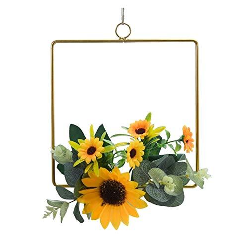 JXHYKJ Artificial Sunflower Floral Hoop Wreath Metal Ring Floral Wedding Wreath Hanging Wall Hoop Garland Nursery Wall Decor