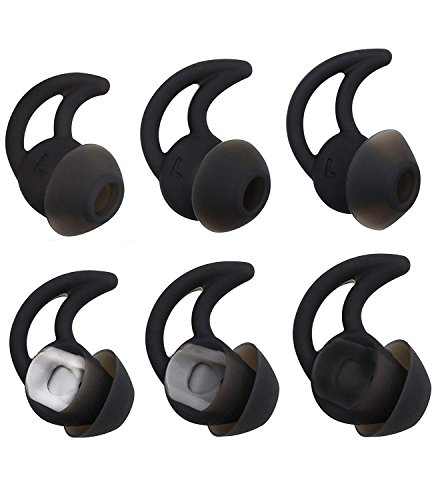 Noise Isolation StayHear QC20 QC30 Earbuds Eartips for Bose QuietComfort 20 30 QC30 QC20 QC20i SIE2 SIE2i Soundsport Wireless in-Ear Earphones (Black)