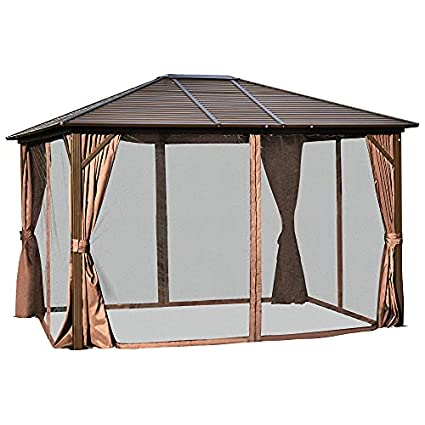 Outsunny 10' x 12' Steel Hardtop Gazebo with Netting Curtains and Sidewalls, Brown and Black
