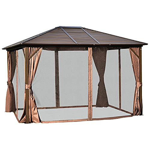 Outsunny 12' x 10' Outdoor Hardtop Canopy Patio Gazebo with Steel Roof, Aluminum Farme, Fully...
