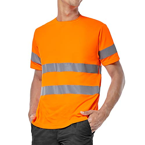 ShyaWorld Camiseta Trabajo Reflectante Alta Visibilidad homologada Seguridad (Naranja Reflectante, M)