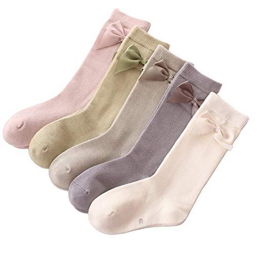 SimonJp キッズハイソックス 女の子 ソックス カラーフル 可愛いシルクリボン 通学 通園 靴下 5足セット ガールズ キッズ