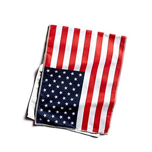 """Mission Original Cooling Towel- Evaporative Cool Technology, Cools Instantly When Wet, UPF 50 Sun Protection, for Sports, Yoga, Golf, Gym, Neck, Workout, 10"""" x 33""""- USA Flag"""