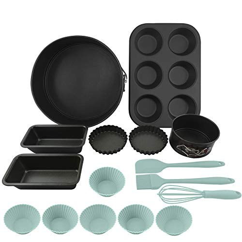 Bakeware Baking Set Nonstick for Oven includes 8.3'&4.3' Cake Pans/ 6-cup Muffin Pan/ 6.1' Bread Pans/ 3.9' Tart Pans/ 3' Cake Cups/Silicone Whisk Spreader Spatula Basting Brush - 16 Piece (Aqua)
