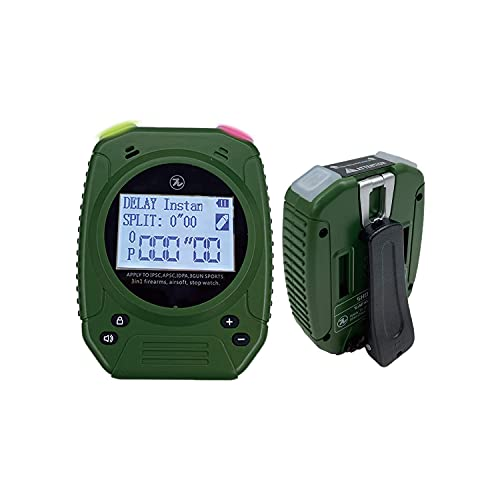 SPECIAL PIE Shot Timer Shooting Timer for Firearms Perfect for Pistols Rifle Dry Fire in USPSA, IPSC, APSC, IDPA Competition Timer (Shot Timer Green with Belt Clip)