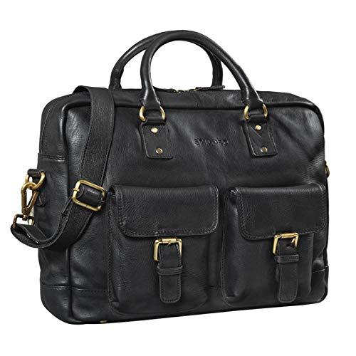 STILORD 'Noam' Businesstasche Leder Herren Damen Groß Vintage Aktentasche Umhängetasche Trolley aufsteckbar für Arbeit Büro Uni Echtes Leder, Farbe:schwarz