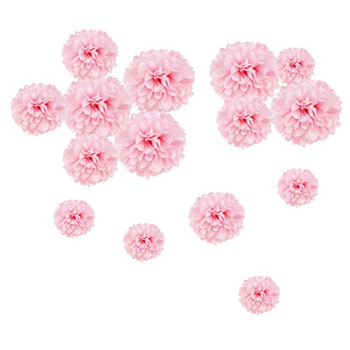 Easy Joy Pompon Papier de Soie Rose Clair Pompom Fleur Decoration Boule Mariage Suspendu pour Wedding Party Anniversaire Baby Shower Fille - 15pcs (5pcs 15/20/25cm)