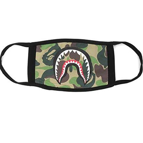 Men's Multi Usage Face Cover Up, Cotton Monkey Camo Shark Mouth Teeth Printed, Green Shark, One Size