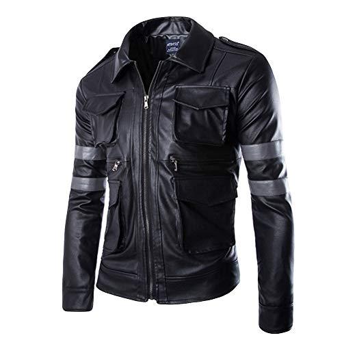 FRAUIT heren bomberjas leer winterjas ritssluiting multi-tas kunstleer mantel casual mode outwear