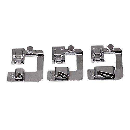 Juego de 3 prensatelas para máquina de coser con dobladillo enrollado (4/8 pulgadas, 6/8 pulgadas, 8/8 pulgadas) Adecuado para máquinas de coser de baja potencia # 81060