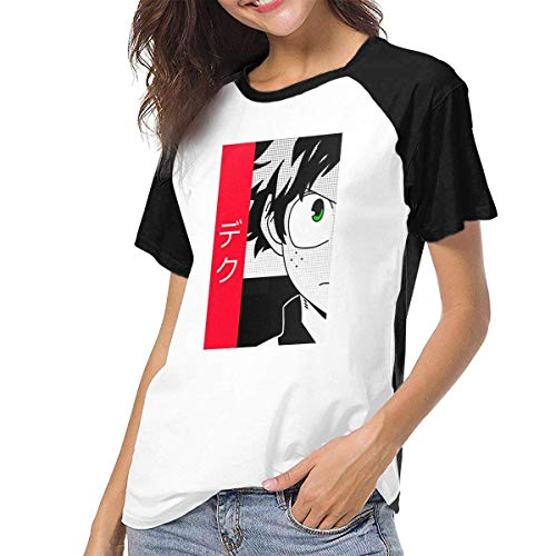 hdghg Camisetas para Mujer,Womens Baseball tee Shirt Short Sleeves Boku No Hero Academia Midoriya Izuku Unique Design Clothing