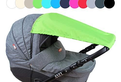 BABYLUX Sonnenschutz für Kinderwagen Buggy Babywanne UV Schutz Rollofunktion Universal SONNENSEGEL Sonnendach Verstellbar (Grün)