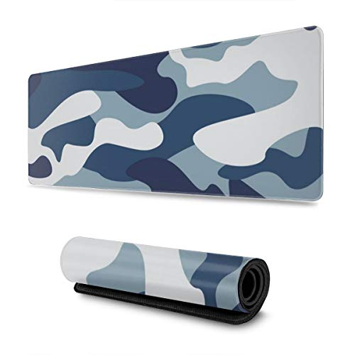 Navy Blue Gray Forest Camouflage Mousepad Non Slip Rubber Gaming Mouse Pad Mouse Pads for Computers Laptop 11.8 X 31.5 in