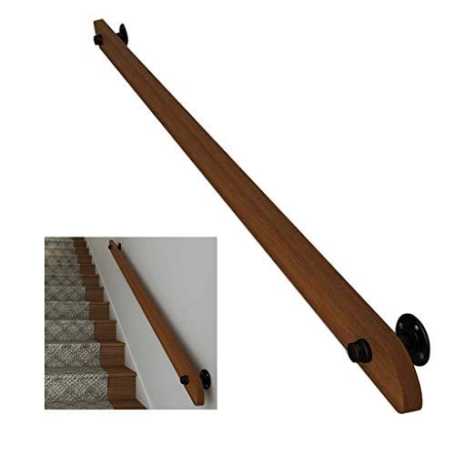 Pasamanos Escalera 1ft-20ft pasamanos de madera, pasillo antideslizante barandillas de escalera varilla de soporte, loft villa interior y exterior kit de barra de agarre de escalera de pared para anci