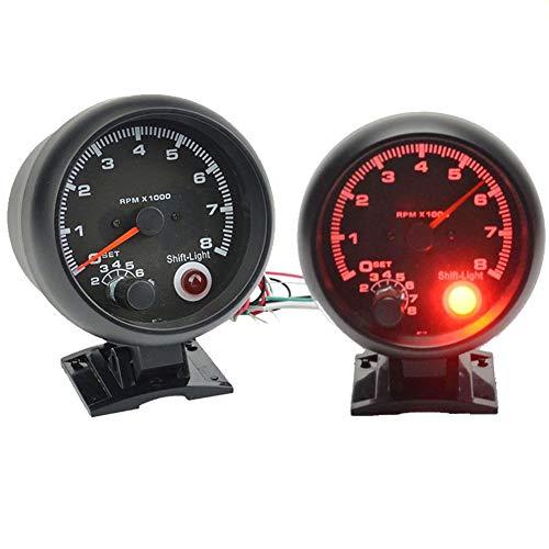 Universal-Drehzahlmesser, 8000 U/min, mit rotem LED-Licht, passend für 4-/6-/8-Zylinder, Benzin-Autos, Tachometer, schwarz