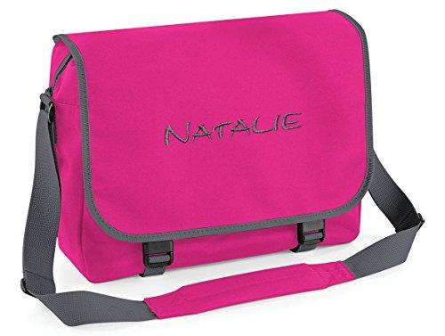 Umhängetasche, Messenger Bag mit Name, Pink/Grau, personalisiert Bestickt, Mitteilung Text Button r.o. jetzt anpassen.