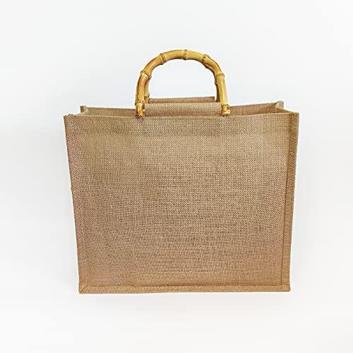 ZOVCO Bolsa de yute con asa para el transporte de bambú en forma de U, bolsa de la compra portátil plegable y reutilizable para mujer/hombre, marrón claro (L- 40 x 34 x 15 cm)