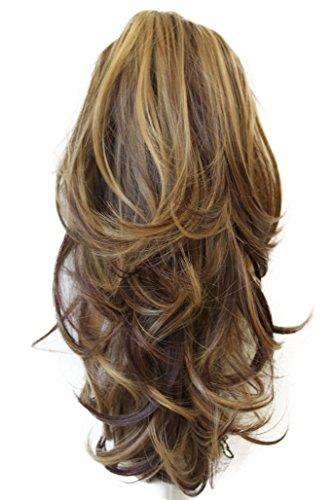 PRETTYSHOP 30cm Haarteil Zopf Pferdeschwanz Haarverlängerung Voluminös Gewellt Braun Blond Mix H95