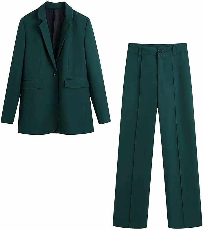JJWC Women Blazer Suits Long Sleeve Single Button Blazer Pants Set Office Ladies Two-Piece Blazer Sets (Color : B, Size : S Code)